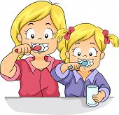Illustration of Female Siblings Brushing Their Teeth Together