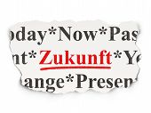 Time concept: Zukunft(german) on Paper background