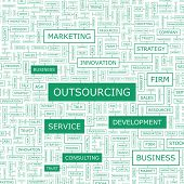 OUTSOURCING. Concept vector illustration. Word cloud with related tags and terms. Graphic tag collec