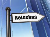 Education concept: Reisebus(german) on Building background