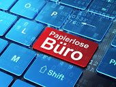 Business concept: Papierlose Buro(german) on computer keyboard b