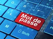 Security concept: Mot de Passe(french) on computer keyboard back