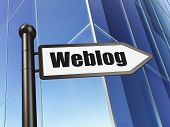 Web development concept: Weblog(german) on Building background