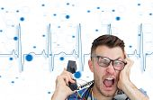 Composite image of frustrated computer engineer screaming while on call in front of blue ecg line on
