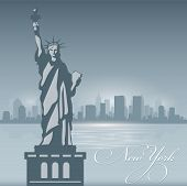 New York Skyline City Silhouette Background
