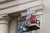 picture of cherry-picker  - Woker in cherry - JPG