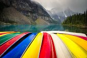 Canoes In Front Of Lake Moraine