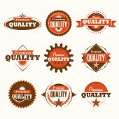 Set of premium quality labels. Vector illustration.