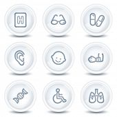Medicine web icons set 2, white glossy circle buttons