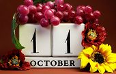 Save The Date White Block Calendar For October 11 With Autumn Fall Colors, Fruit And Flowers Theme F