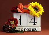 Save The Date White Block Calendar For October 14 With Autumn Fall Colors, Fruit And Flowers Theme F