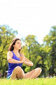 image of stressless  - Young female athlete in sportswear doing yoga exercise seated on a green grass in a park - JPG