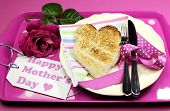 Happy Mothers Day Breakfast Tray With Pink Rose And Heart Shape Toast On Polka Dot Tray.