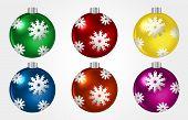 Set Of Colorful Christmast Balls