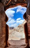 image of petra jordan  - View of the desert from a tomb doorway in Petra - JPG