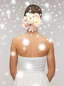 valentine's day, bridal, wedding, christmas, x-mas, winter, happiness concept - woman with flowers in her head