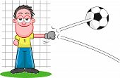 Cartoon Goalkeeper Deflecting Ball