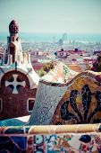 pic of gaudi barcelona  - Park Guell designed by Antonio Gaudi in Barcelona Spain In Barcelona - JPG