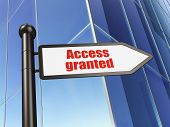 Security concept: Access Granted on Building background