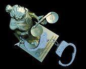 image of handlock  - Lady of Justice  statue and handcuffs - JPG