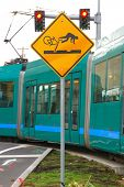 picture of railroad-sign  - Bicycle sign warning of railroad tracks in Portland Oregon - JPG