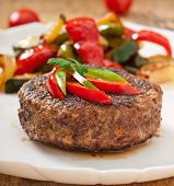 picture of hamburger-steak  - Tasty hamburger beef steak with grilled vegetable - JPG