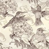 image of butterfly flowers  - Vector seamless wallpaper pattern with birds and flowers - JPG