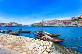 Oporto Or Porto Skyline, Douro River And Boats. Portugal, Europe.