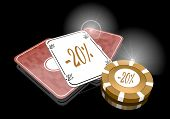 3D Graphic Of A Golden Discount Sign  On Poker Cards