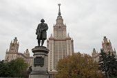 Moscow State University Building And Lomonosov Statue