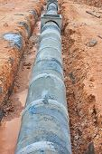 stock photo of waterspout  - The Concrete drainage tank on construction site - JPG