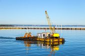 foto of pontoon boat  - Pontoon and crane  - JPG