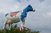 Patriotic Red, White, and Blue Cow