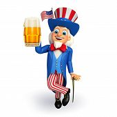 Uncle Sam with beer glass