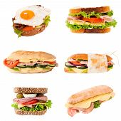 stock photo of oblong  - Group of sandwiches in isolated on white background - JPG