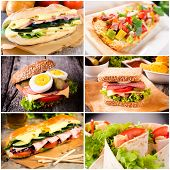 stock photo of oblong  - Group of sandwiches in tortilla and toast bread - JPG