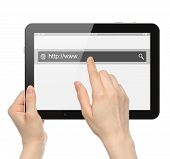 Hand pushing virtual search bar on tablet PC