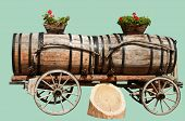 Wine Barrels in Aigle, Switzerland Isolated on Hemlock