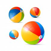 stock photo of pool ball  - Colorful Vector Beach Balls Isolated on White Background - JPG