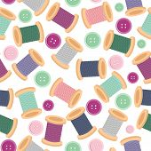 seamless pattern wwith reels of thread and buttons
