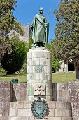 stock photo of dom  - Statue of King Dom Afonso Henriques by the Sacred Hill in the city of Guimaraes - JPG