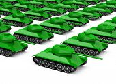 stock photo of panzer  - a crowd of military tanks isolated on white background - JPG