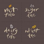 picture of wheat-free  - Hand written unhealthy or allergenic food vector label set - JPG