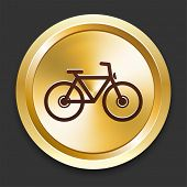 Bicycle Icons on Gold Button Collection