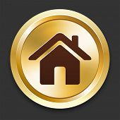 House Icons on Gold Button Collection