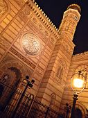 pic of synagogue  - night scene with an old Budapest synagogue - JPG