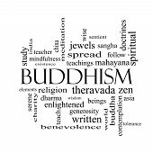 Buddhism Word Cloud Concept In Black And White
