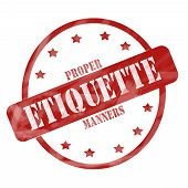 Red Weathered Etiquette Stamp Circle And Stars