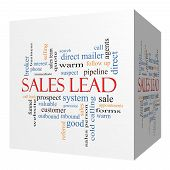 Sales Lead 3D Cube Word Cloud Concept