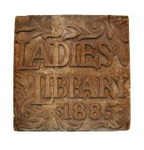 picture of cornerstone  - Cornerstone for original Ladies Library in Ann Arbor - JPG
